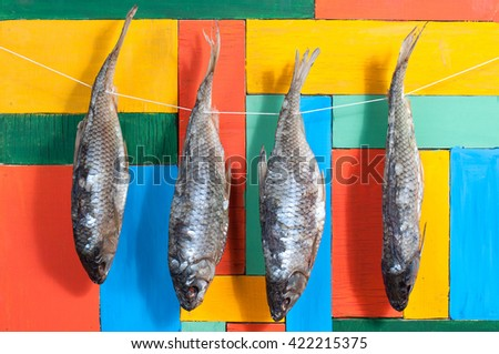 Dried fish hanging on a thread #422215375