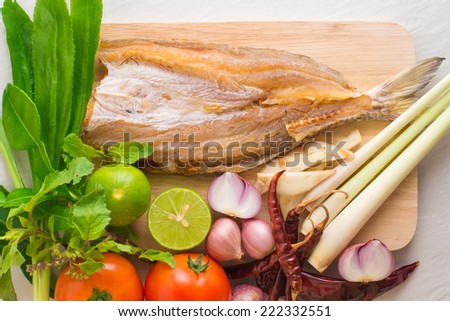 dried fish herb and spicy ingredients for making Thai food