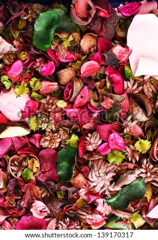 Dried flowers background.