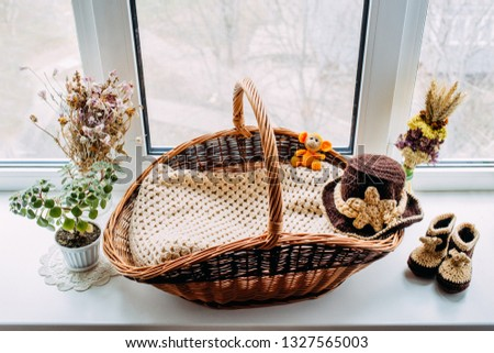 Dried flowers on the window. Props for photo session. Set for newborns. Knitted toy. Basket for a newborn. Autumn composition. Cowboy set. Set for a photo shoot baby. handmade.
