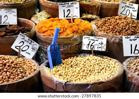 Dried foods on sale at spice market
