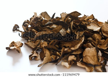 Dried forest mushrooms on white surface