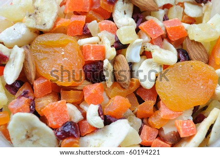 dried fruit and nuts.