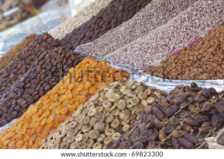 Dried fruit at the Medina in Marrakech, Morocco