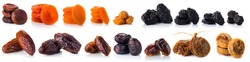 Dried fruit collection on white background, set dried apricots, prunes, dates and figs isolated