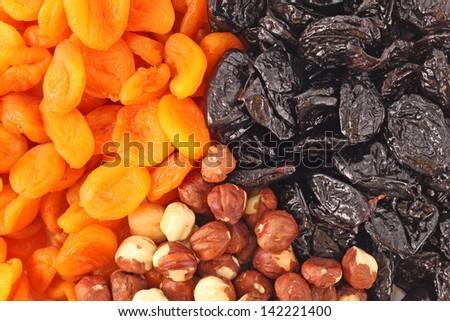 Dried fruits and hazelnuts backgtound Dried fruits and hazelnuts backgtound