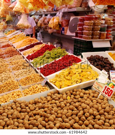 Dried Fruits And Nuts At The Valencian Mercado Central