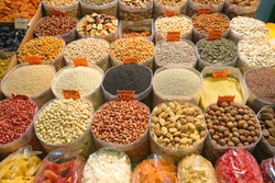 Dried Fruits and Nuts in Bulk Bags at Market