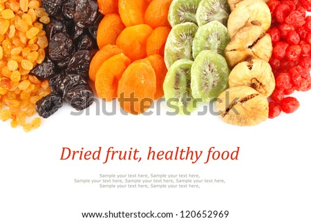 Shutterstock Dried fruits assortment on white background, health food concept & text