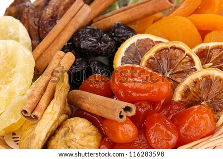 Dried fruits close-up