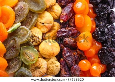 Dried fruits close up