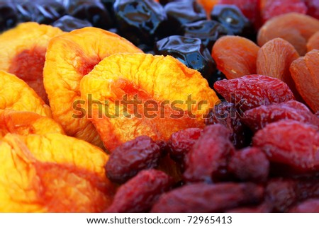 Dried fruits close up picture.