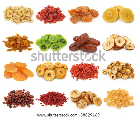 Dried fruits collection-banana, strawberries,peach, pineapple, sultanas,kiwi,dates,apples, apricots, pineapple, goji,iranian figs, cranberries, berberis,figs, pineapple