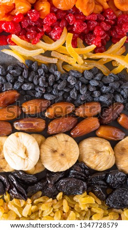 Dried fruits. Dried cherries, dried apricots, dates, figs, raisins and candied orange