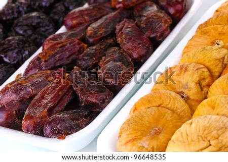 Dried fruits in plastic packaging close up