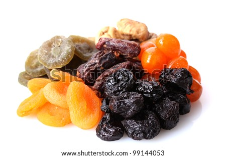 Shutterstock Dried fruits isolated on white