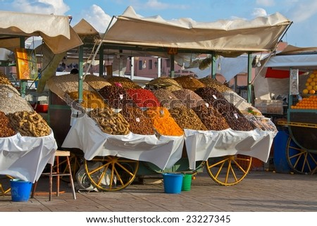 Dried fruits stool in the market square in Marrakesh