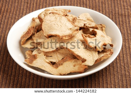 Dried galangal on a plate