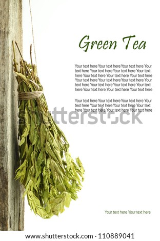 Dried green tea hanging from a rope with copy space