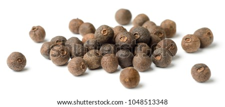 dried herb, allspice isolated on white