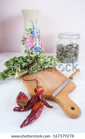 dried herbs and paprika still life