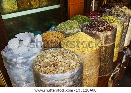 dried herbs flowers spices in the street shop
