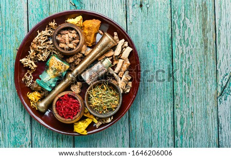 Dried herbs for use in alternative medicine.Alternative medicine herbal.