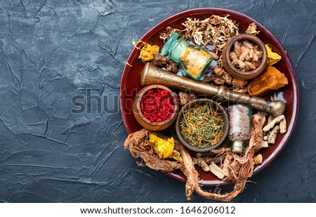 Dried herbs for use in alternative medicine.The natural medicine
