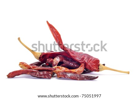 dried hot chili peppers isolated on a white background
