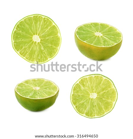 Dried lime cut in half isolated over the white background, set of different foreshortenings #316494650