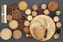 Dried macrobiotic  health food  with sour dough bread, nobu and soba noodles, legumes, seaweed, grains, cereals, seeds, wasabi nuts and whole wheat pasta. High in protein, antioxidants and fiber,
