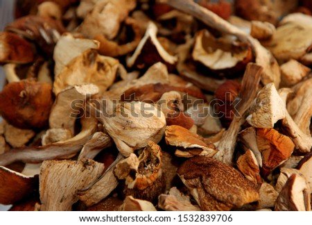 Dried mushrooms background. Dried boletus. Mushroom drying.Selective focus