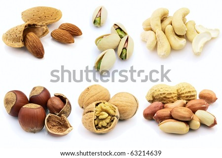 Dried nuts on a white background