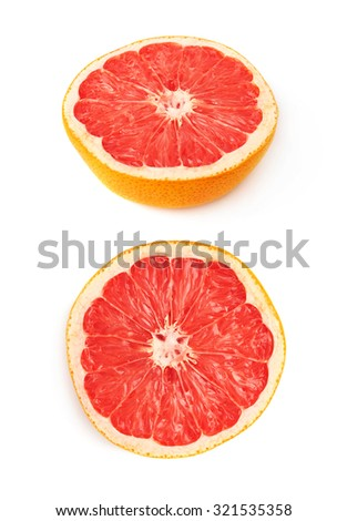 Dried old grapefruit cut in half isolated over the white background #321535358