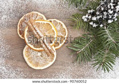 Dried orange and cinnamon with pine
