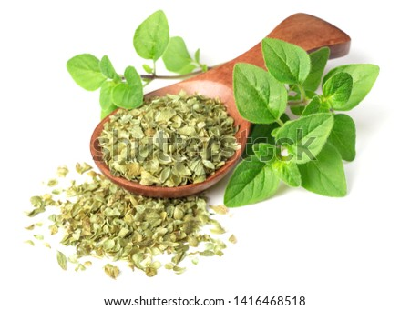 dried oregano flakes in the wooden spoon, with fresh oregano twigs, isolated on white background #1416468518