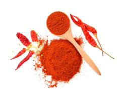 Dried peppers and cayenne pepper on white background,Top view