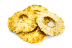 dried pineapple rings isolated on white background