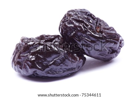 Dried plum on a white background