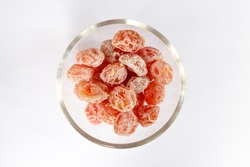 Dried Plum Salted, Salted Plum in a glass bowl.