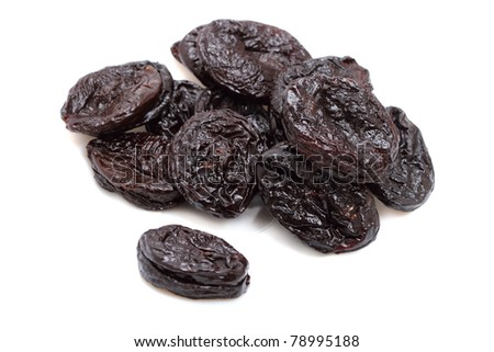 Dried plums isolated on a white background