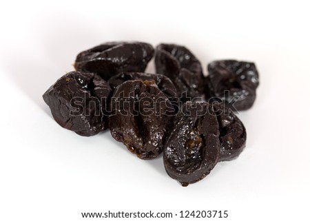 Dried Plums on White