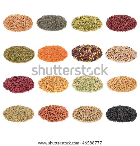 Dried pulses collection, isolated over white background.