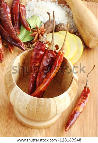 Dried Red Chili Peppers and other Assorted Spices used in Asian Cooking