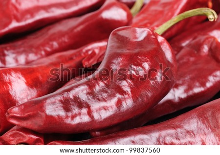 dried red hot  pepper  background - stock photo