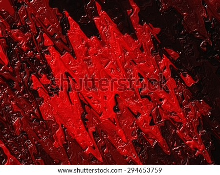 Dried red oil paint on a black background. Abstract stains resembling blood, ketchup or raspberry jam