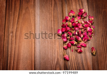 Dried rosebuds for making rose tea