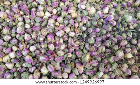 Dried rosebuds for sale as background #1249926997