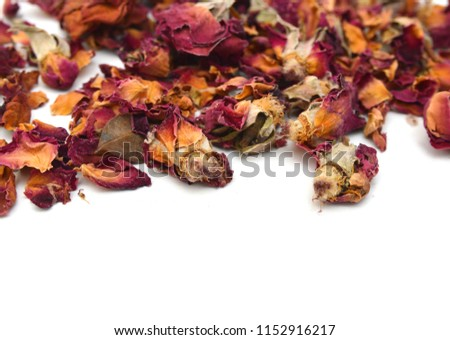 Dried rosebuds on white background #1152916217