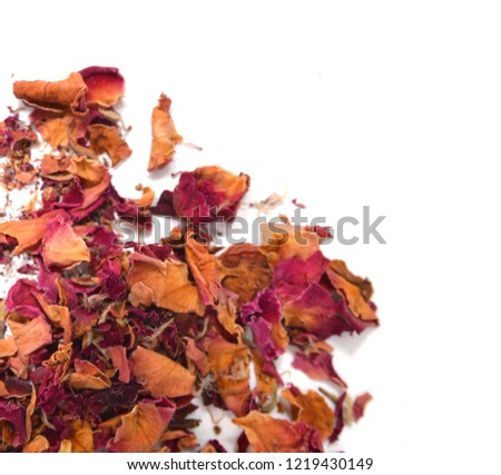 Dried rosebuds on white background #1219430149